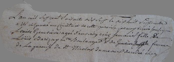 BARIGNY Louise Geneviève dcd 18.09.1777