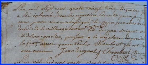 BRIGAULT Louis Hubert dcd 14.06.1783
