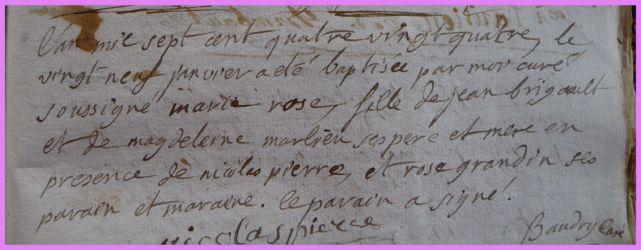 BRIGAULT Marie-Rose née 29.01.1784