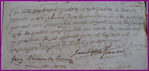 BRIGAULT Marie dcd 30.01.1784