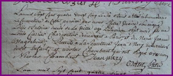 CARRIER Louis Antoine dcd 06.04.1785