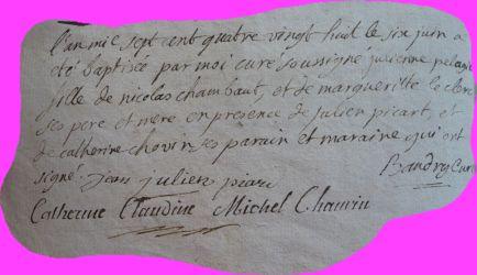 CHAMBAUT Julienne Pélagie née 06.06.1788