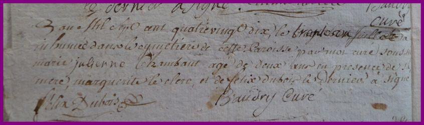 CHAMBAUT Marie-Julienne dcd 30.07.1790