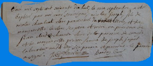 CHAMBAUT Nicolas Joseph né 16.09.1778