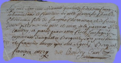 CHEVENEAU Char lotte bébé dcd 19.03.1774