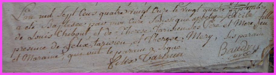 CHIBOUT Angélique Félicitée née 24.09.1791
