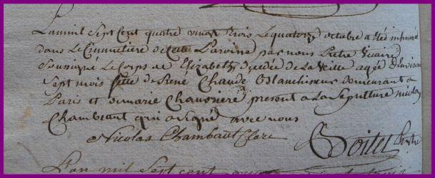 CLAUDE Elizabeth dcd 13.10.1783