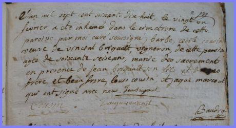 COUSIN Barbe Cécile dcd 21.02.1778
