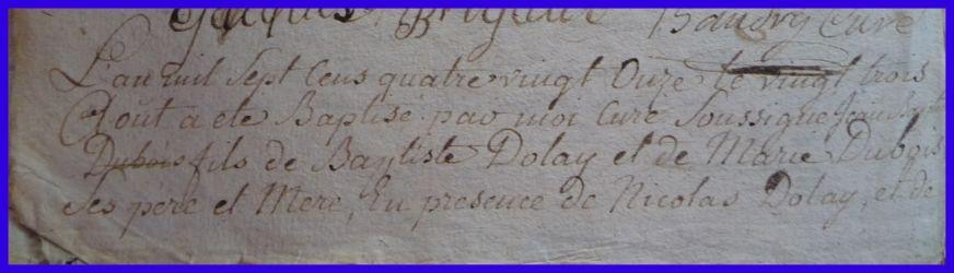 DOLLE Jean-Baptiste né 23.08.1791 N°1