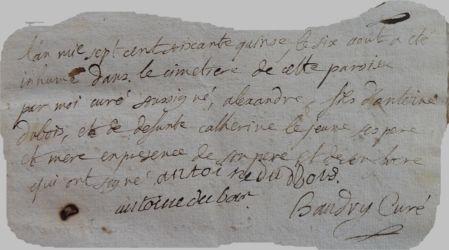 DUBOIS Alexandre Sébastien 1765-dcd 06.08.1775