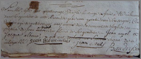 DUBOIS Claude 80 ans dcd 20.06.1790