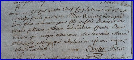 DUBOIS Denis Félix né 31.08.1785