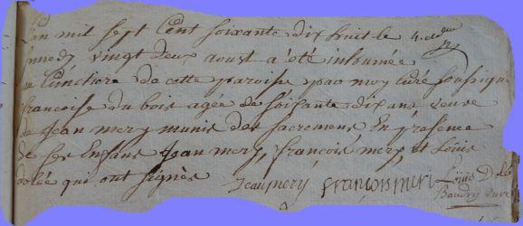 DUBOIS Françoise Véronique dcd 22.08.1778