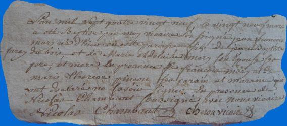 DUBOIS Jean-François né 28.03.1789