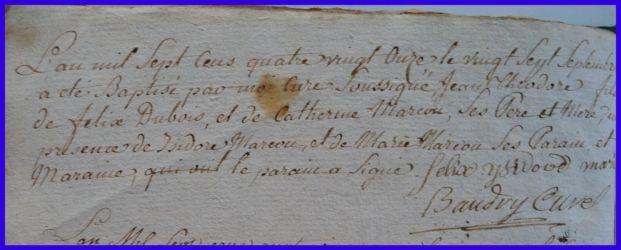 DUBOIS Jean-Théodore né 27.09.1791