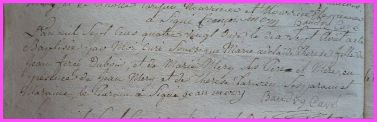 DUBOIS Marie-Adélaide Thérèse née 07.08.1791