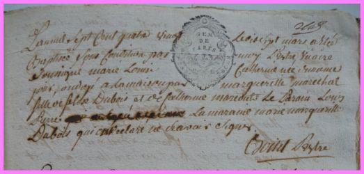 DUBOIS Marie-Louise Catherine née 17.03.1780
