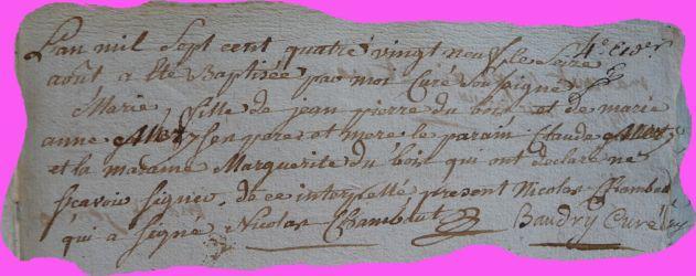 DUBOIS Marie née 16.07.1789