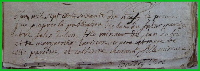 DUBOIS et MARCOUT N°1 le 01.06.1799