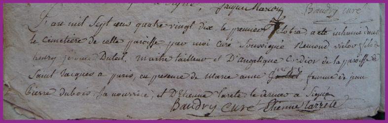 DUTEIL Remond Victor en nourrice dcd 01.10.1790