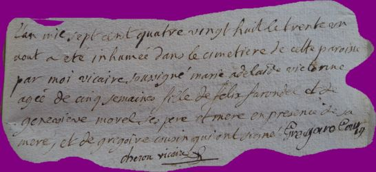 FARONDEL Adelaide Victorine dcd 31.08.1788