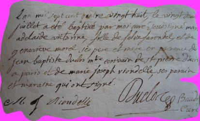 FARONDEL Adelaide Victorine née 22.07.1788