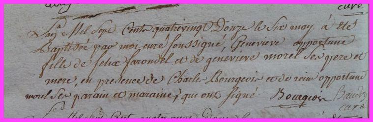 FARONDEL Geneviève Opportune née 06.05.1792