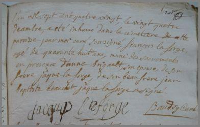 LAFORGE François dcd 24.12.1780