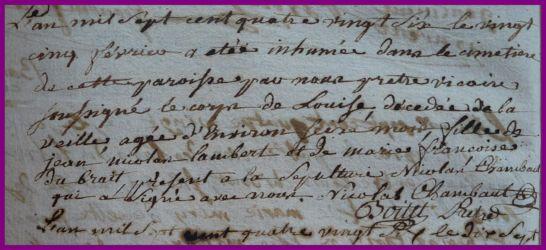 LAMBERT Louise dcd 25.02.1786