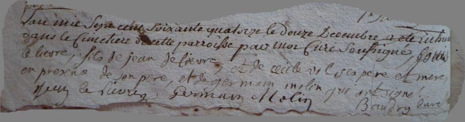 LELIEVRE Louis Guillaume dcd 12.12.1774