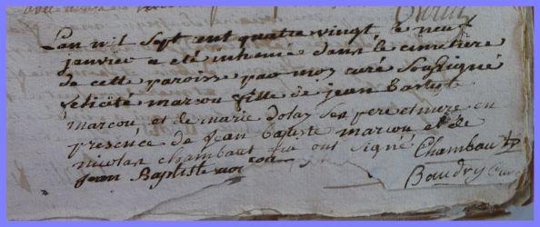 MARCOUT Félicitée dcd 09.01.1780