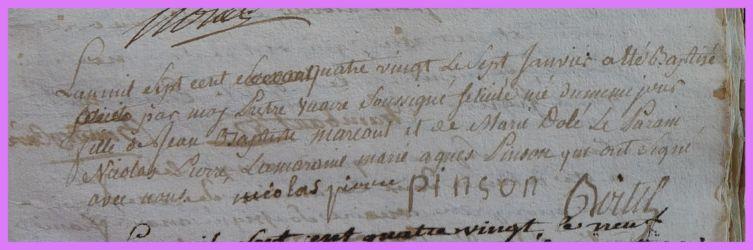 MARCOUT Félicitée née 07.01.1780