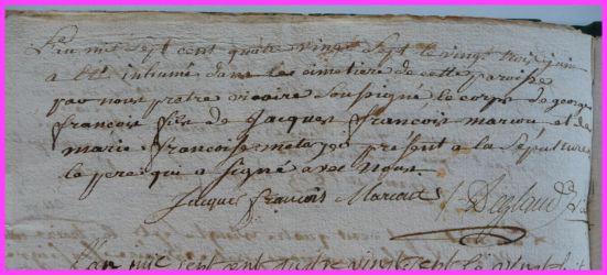 MARCOUT Georges François dcd 23.06.1787