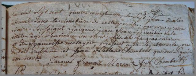 MARCOUT Jacques Jean François dcd 07.06.1781