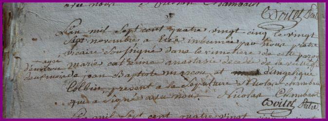 MARCOUT Marie-Catherine Anastasie dcd 26.11.1785