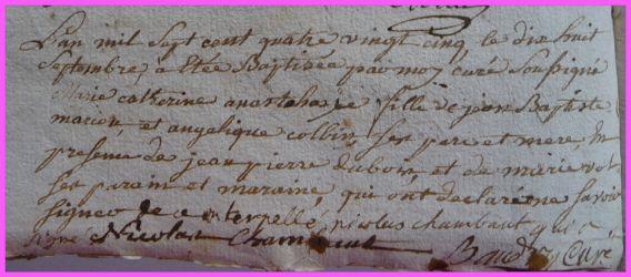 MARCOUT Marie-Catherine Anastasie née 18.09.1785