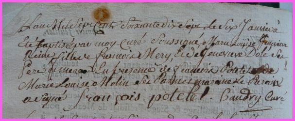 MERY M-Louise Geneviève Fse née 06.01.1777