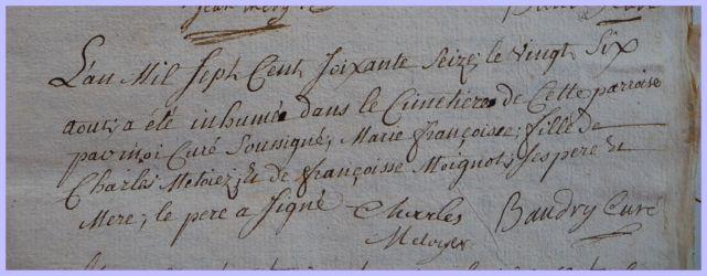 METOYER Marie-Françoise dcd 26.08.1776