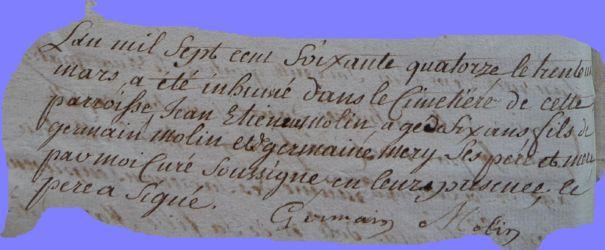 MOLIN Jean-Estienne 1768-dcd 30.03.1774