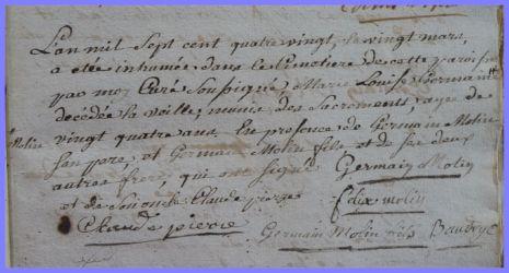 MOLIN Marie-Louise Germaine 1755-dcd 20.03.1780