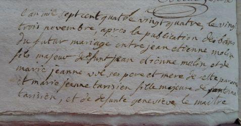 MOLIN et TARISIEN le 23.11.1784 N°1