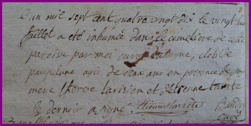 PAMPELUNE Clotilde 2 ans dcd 28.07.1790