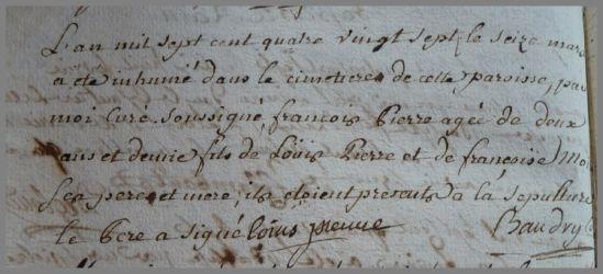 PIERRE François 2ans dcd 16.03.1787
