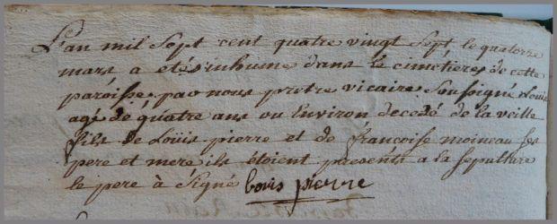 PIERRE Louis dcd 13.03.1787