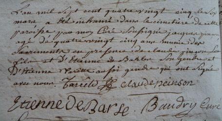 PINSON Jacques 85 ans dcd 06.03.1785