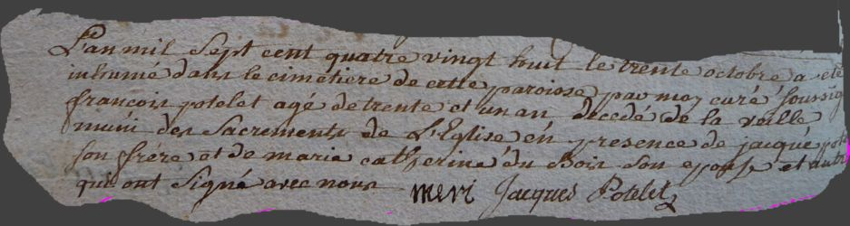 POTELET François dcd 30.10.1788