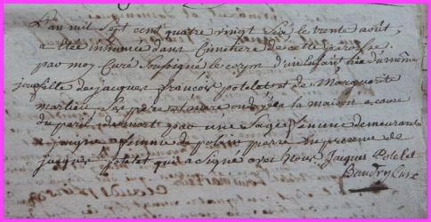 POTELET Mort-née le 30.08.1786