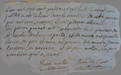 PRUNEL Louis Pierre Alexandre dcd 21.07.1788