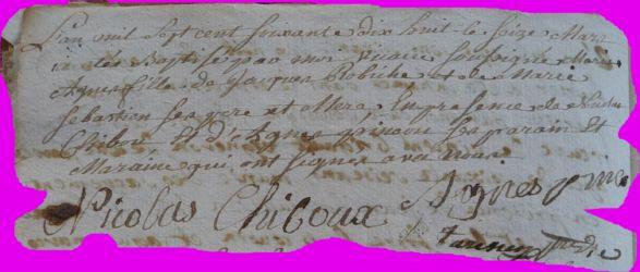 ROBICHE Marie-Agnès née 16.03.1778