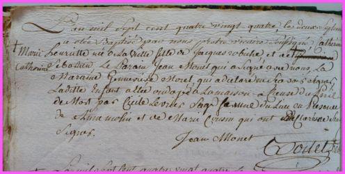 ROBICHE Marie-Catherine Henriette née 02.09.1784